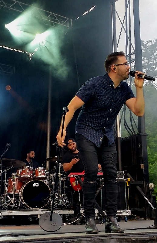 Danny Gokey on stage in Adirondacks
