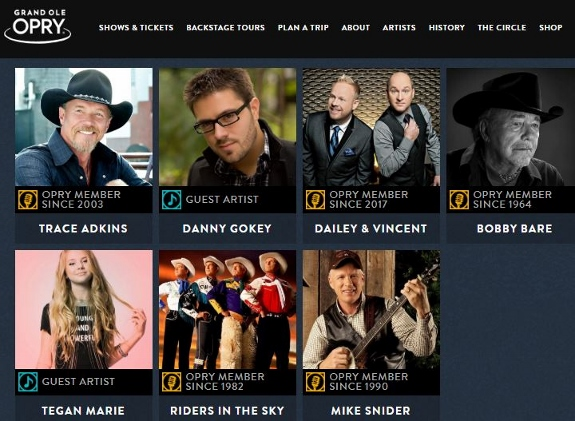 Performing artists at the Grand Ole Oprey to include Trace Adkins and Danny Gokey